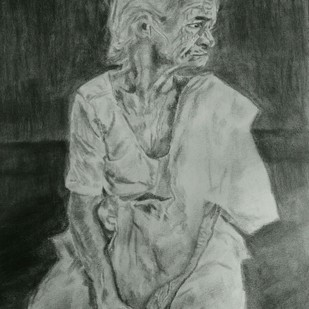 BEMUSED by Reshma M, Impressionism Drawing, Charcoal on Canvas, Gray color