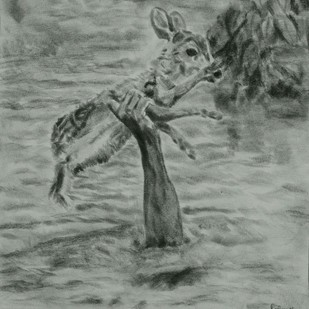 RESURRECTION by Reshma M, Impressionism Drawing, Charcoal on Canvas, Gray color