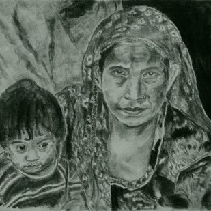 HOPE by Reshma M, Illustration Drawing, Charcoal on Canvas, Green color