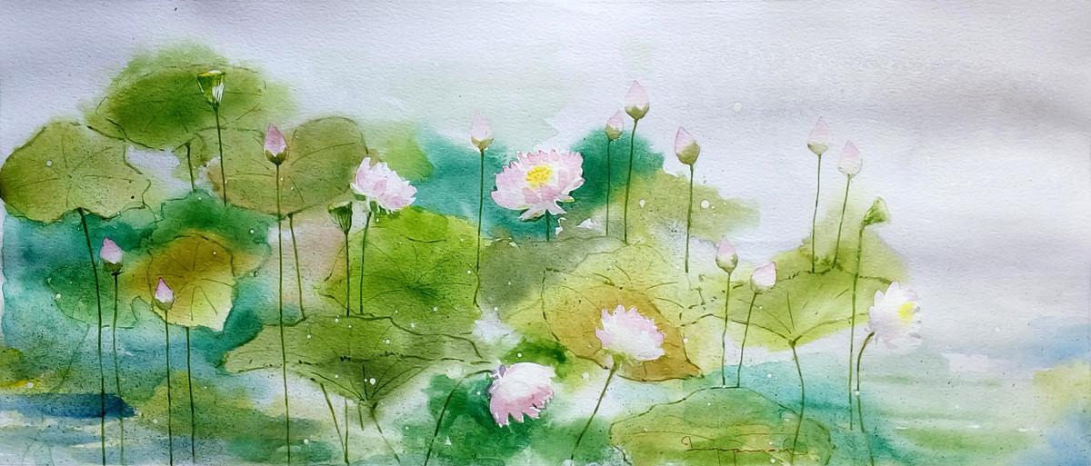 Lotus Pond 2 Digital Print by Jeyaprakash M,Abstract