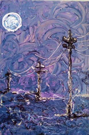 moonlit post by Saikat Chakraborty, Abstract Painting, Acrylic on Canvas, Blue color