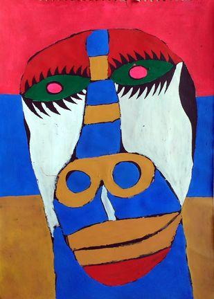 Self-portrait by Manoj Kumar Negi, Fantasy Painting, Tempera on Paper, Blue color
