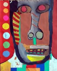 Self-portrait by Manoj Kumar Negi, Fantasy Painting, Tempera on Paper, Brown color