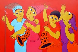 childwood fun by Dnyaneshwar Bembade, Traditional Painting, Acrylic on Canvas, Red color