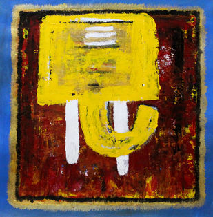 Ganesha 2 by Karan Meral, Impressionism Painting, Acrylic on Canvas, Brown color