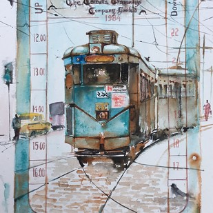 Calcutta Tram ..That tram ticket of mine by Avanish Trivedi, Impressionism Painting, Watercolor on Paper, Gray color