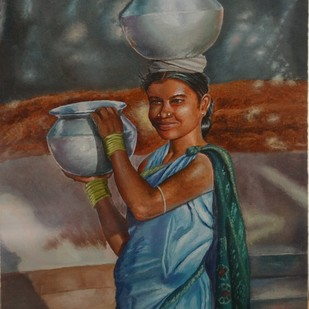 Woman With Anda by Ramya Sadasivam, Impressionism Painting, Oil on Canvas, Brown color