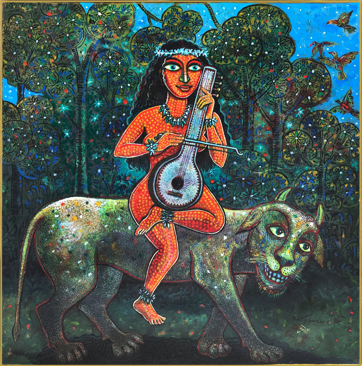 THE HARMONY by Pradip Sarkar, Decorative Painting, Acrylic on Board, Green color
