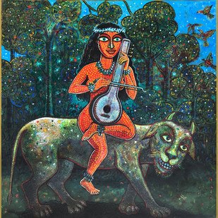 THE HARMONY by Pradip Sarkar, Decorative Painting, Acrylic on Board, Green color
