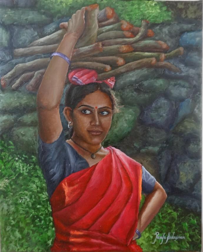 Girl Carrying Woodlog by Ramya Sadasivam, Realism Painting, Oil on Canvas, Green color