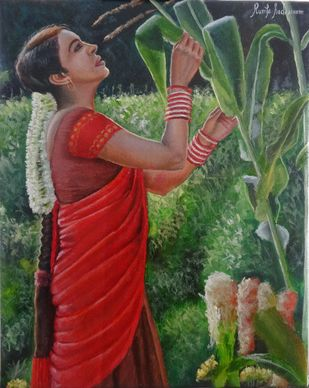 Girl Checking The Crop by Ramya Sadasivam, Expressionism Painting, Oil on Canvas, Green color