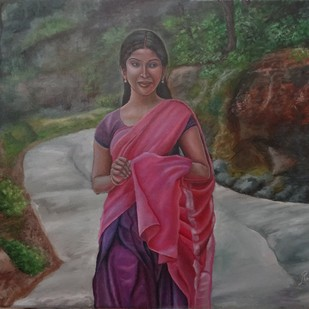 Girl In Rose Half Saree by Ramya Sadasivam, Expressionism Painting, Oil on Canvas, Gray color