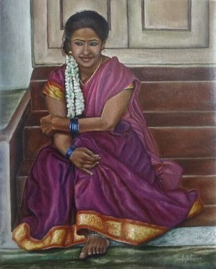Girl Sitting The Stairs Digital Print by Ramya Sadasivam,Expressionism