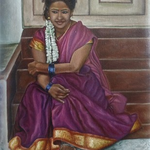 Girl Sitting The Stairs by Ramya Sadasivam, Expressionism Painting, Oil on Canvas, Brown color