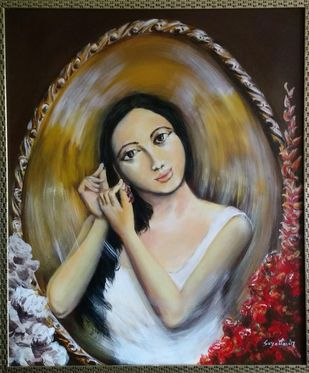 Longing by Sayantan Ghati, Expressionism Painting, Acrylic on Canvas, Brown color