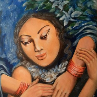 Embrace by Sayantan Ghati, Expressionism Painting, Acrylic on Canvas, Brown color