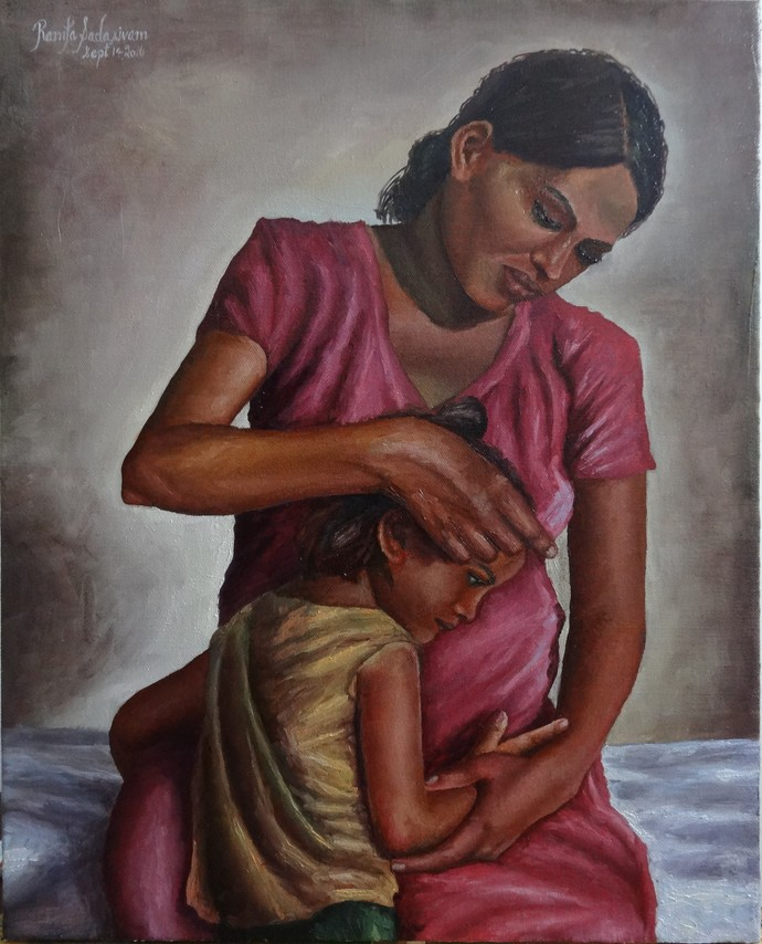 Mothers Love by Ramya Sadasivam, Expressionism Painting, Oil on Canvas, Brown color