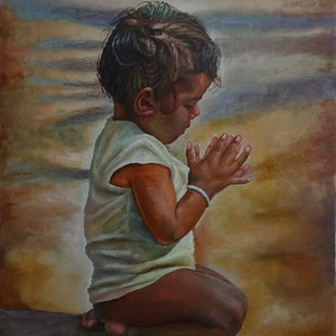 Playing Child by Ramya Sadasivam, Expressionism Painting, Oil on Canvas, Brown color