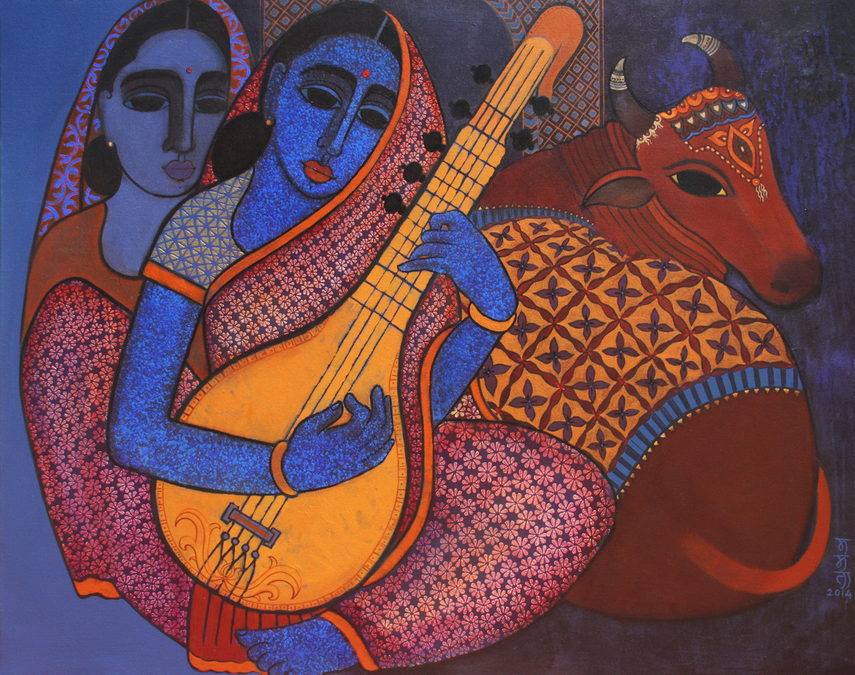 Megh Malhar by Mamata Shingade, Expressionism Painting, Acrylic on Canvas, Brown color