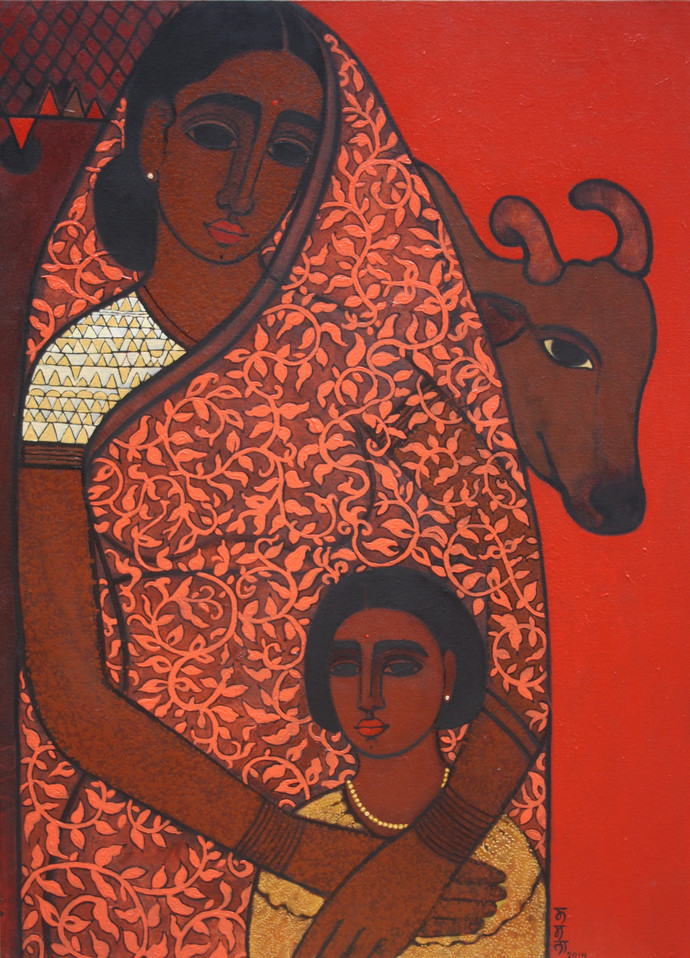 Caring Mother by Mamata Shingade, Expressionism Painting, Acrylic on Canvas, Brown color