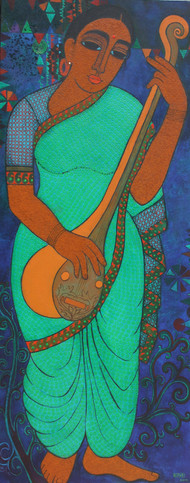 Musician by Mamata Shingade, Expressionism Painting, Acrylic on Canvas, Green color