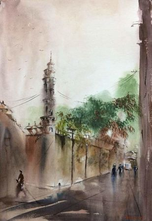 Morning mood near Pareshnath temple in Kolkata by Dipankar Biswas, Impressionism Painting, Watercolor on Paper, Brown color