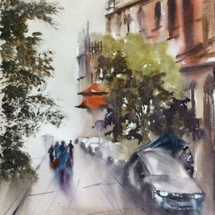 Walking down The Calcutta High Court. by Dipankar Biswas, Impressionism Painting, Watercolor on Paper, Gray color