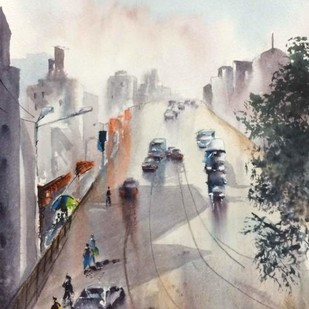 In the middle of road in Kolkata by Dipankar Biswas, Impressionism Painting, Watercolor on Paper, Gray color