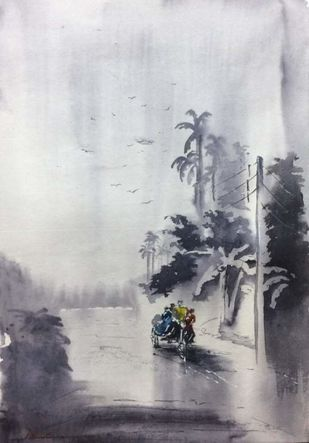 On their way to Shikharpur by Dipankar Biswas, Impressionism Painting, Watercolor on Paper, Gray color