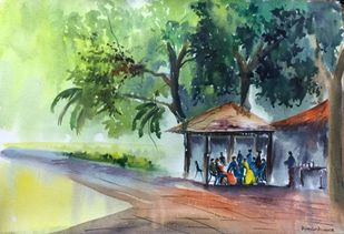 Colours in the Meet by Dipankar Biswas, Impressionism Painting, Watercolor on Paper, Green color