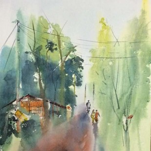 Please our stories are yet to over by Dipankar Biswas, Impressionism Painting, Watercolor on Paper, Beige color