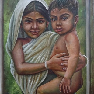 Sibling Love by Ramya Sadasivam, Expressionism Painting, Oil on Canvas, Brown color