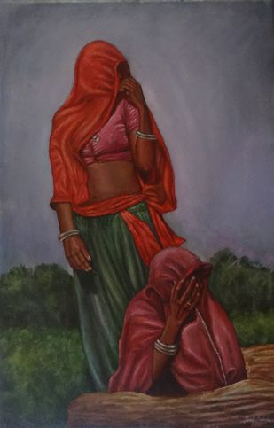 Women On The Rock by Ramya Sadasivam, Expressionism Painting, Oil on Canvas, Brown color