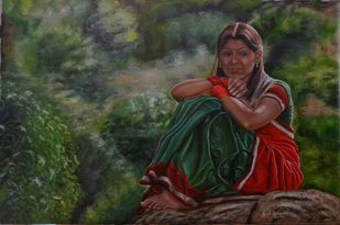 The Girl In Half Saree by Ramya Sadasivam, Expressionism Painting, Oil on Canvas, Green color