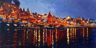 Varanasi Ghat by Jeyaprakash M, Impressionism Painting, Acrylic on Canvas, Blue color