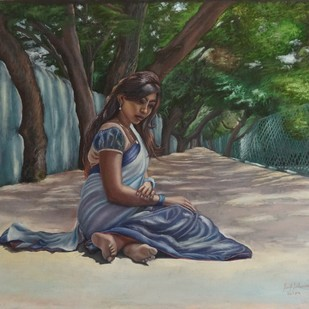 The Girl In Anna Nagar Park by Ramya Sadasivam, Impressionism Painting, Oil on Canvas, Green color