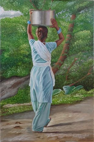 The Woman Carrying Water by Ramya Sadasivam, Impressionism Painting, Oil on Canvas, Green color