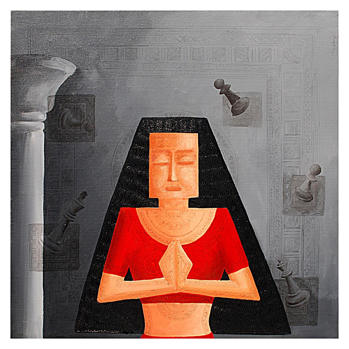Doupadi Ekal Seka -VII by Rupatan Naskar, Expressionism Painting, Acrylic & Ink on Canvas, Gray color
