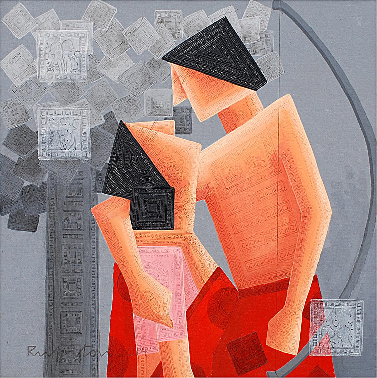 Doupadi Ekal Seka -VI by Rupatan Naskar, Geometrical Painting, Acrylic & Ink on Canvas, Brown color