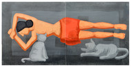 Doupadi Ekal Seka -VIII by Rupatan Naskar, Expressionism Painting, Acrylic on Canvas, Gray color