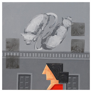 Doupadi Ekal Seka - IX by Rupatan Naskar, Expressionism Painting, Acrylic on Canvas, Gray color