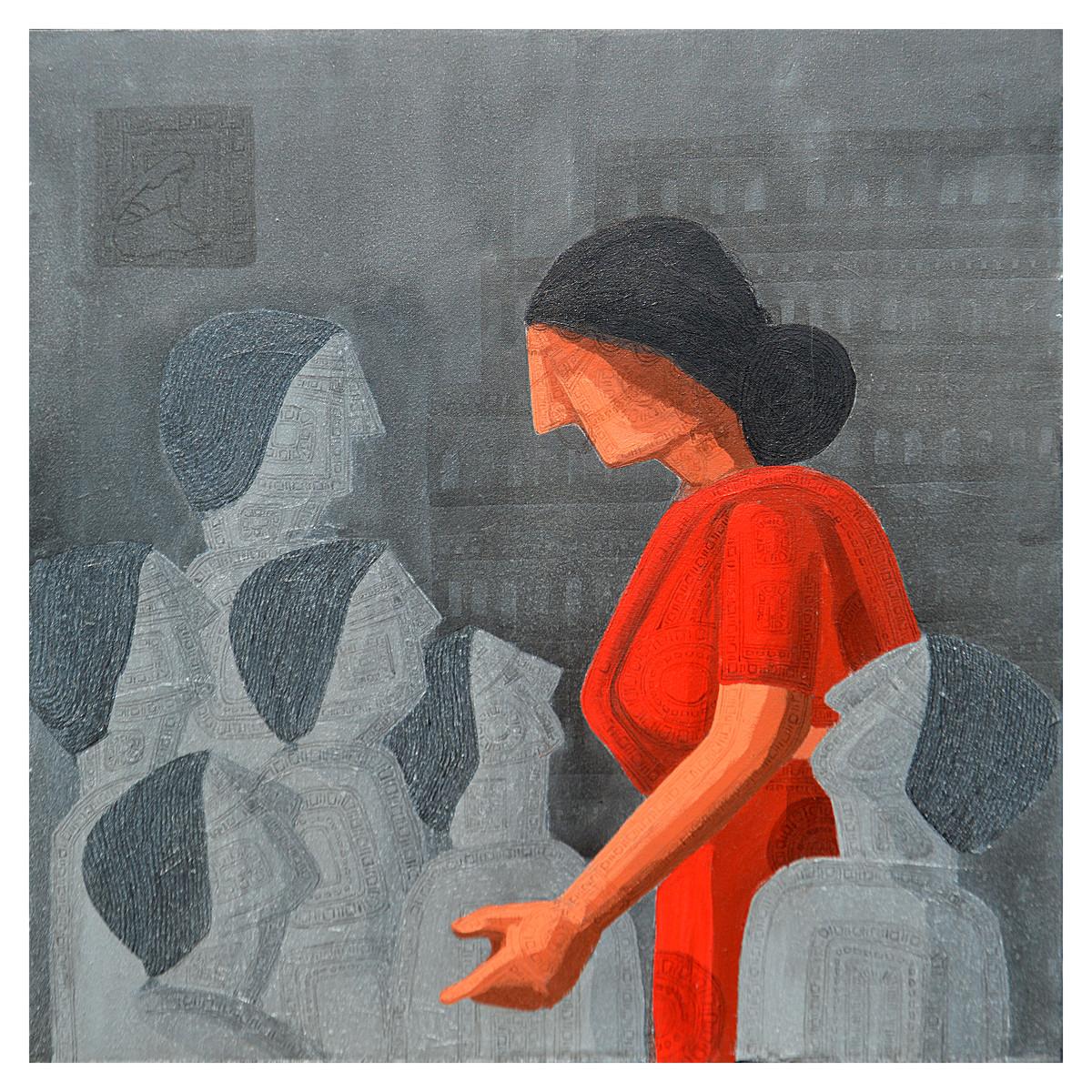 Doupadi Ekal Seka - X by Rupatan Naskar, Expressionism Painting, Acrylic on Canvas, Gray color