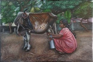 Woman Milking The Cow by Ramya Sadasivam, Expressionism Painting, Oil on Canvas, Brown color