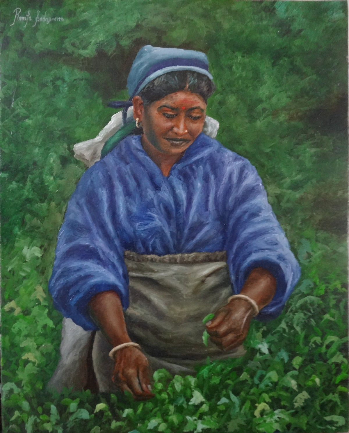 Woman Plucking Tea Leaves by Ramya Sadasivam, Expressionism Painting, Oil on Canvas, Green color