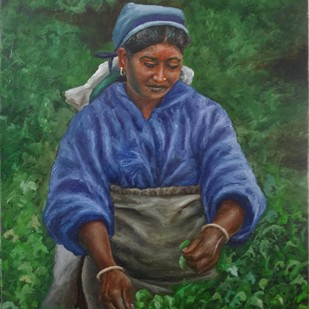 Woman Plucking Tea Leaves Digital Print by Ramya Sadasivam,Expressionism