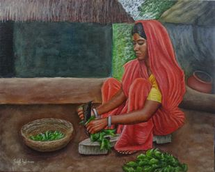 Woman Slicing Greens by Ramya Sadasivam, Expressionism Painting, Oil on Canvas, Brown color