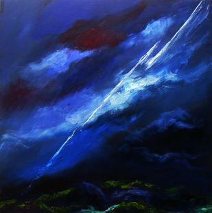 Raga Malhar by Shishir Gupta, Abstract Painting, Oil on Canvas, Blue color