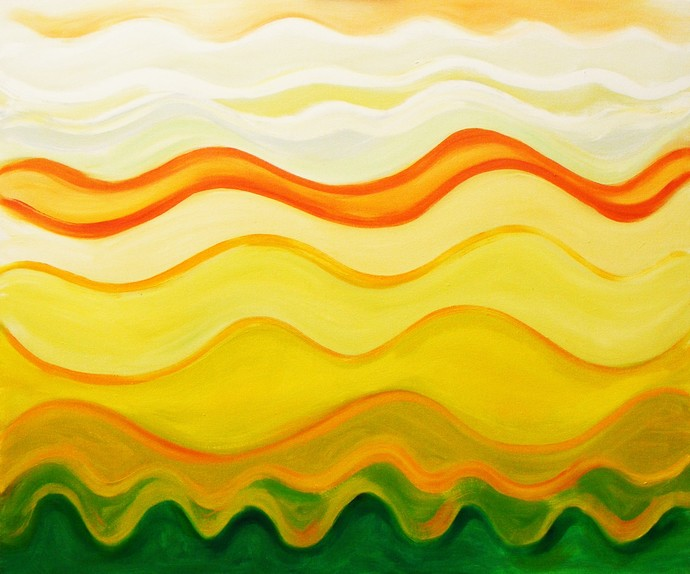 Raga Sarang by Shishir Gupta, Abstract Painting, Oil on Canvas, Yellow color