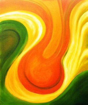 Raga Puravi by Shishir Gupta, Abstract Painting, Oil & Acrylic on Canvas, Orange color