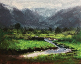 Somewhere near lohgad by Pradip Kate, Impressionism Painting, Acrylic on Canvas, Green color
